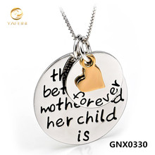 YAFEINI Collares 2016 Genuine 925 Sterling Silver Three Tone Necklace Fine Jewelry Mother Child Love Pendant Necklace GNX0330(China (Mainland))