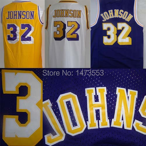 Wholesale Los Angeles #32 Magic Johnson Jersey Earvin Johnson Basketball Jersey New Rev 30 Mesh Purple White Yellow Brand New(China (Mainland))