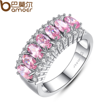 BAMOER White Gold Filled Pink Sapphire Finger Ring Lady's 10KT Finger Rings 2015 Fashion Jewelry YIR050(China (Mainland))