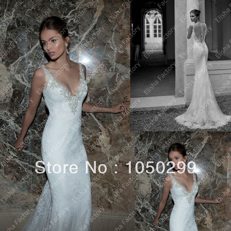 Hot sale pearl beaded plunging v neckline backless very for Very sexy wedding dresses