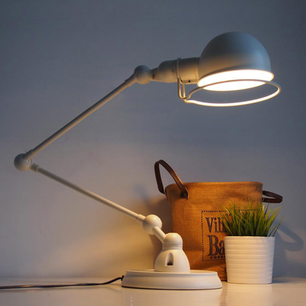 Nordic Vintage Black/White Desk Light E27 Office Study Bedside Garden Style Table Lamp Adjustable Arms Home Lighting Decoration(China (Mainland))