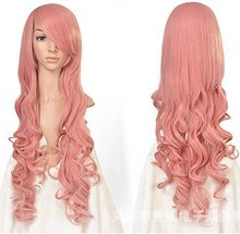 80 Cm Cosplay Ainme Pink Wig Women Long Curly Wavy Sexy Full Synthetic Hair Wigs Halloween Christmas Party Pelucas Peruca(China (Mainland))