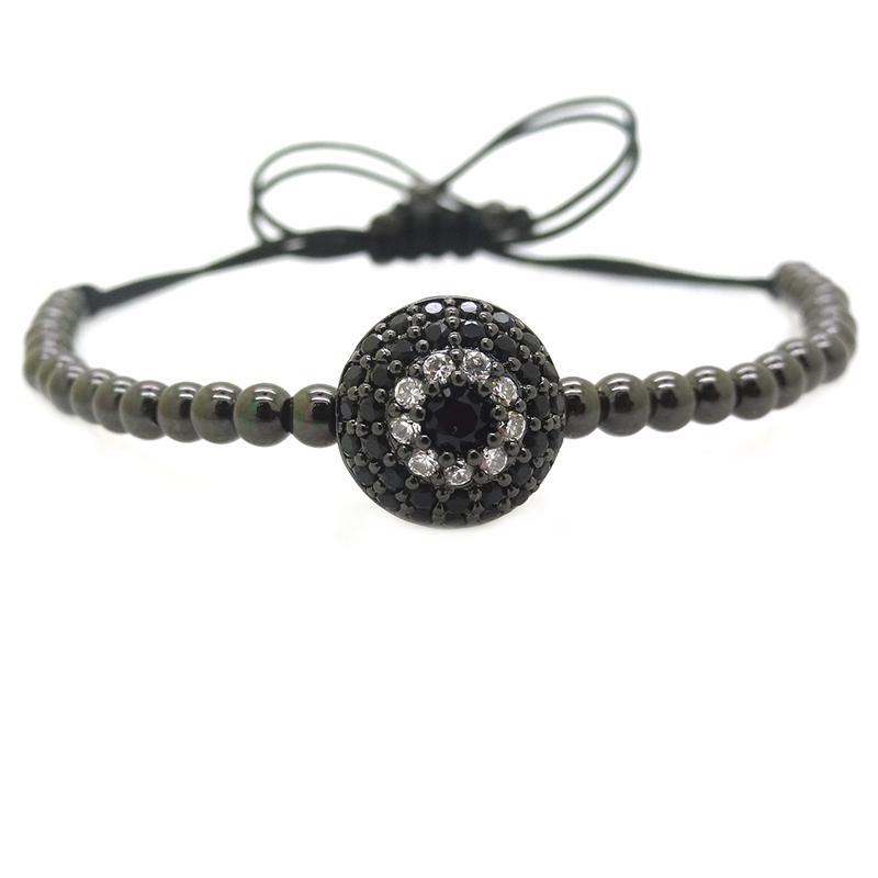 Brand Men Black Pumped Eye Bracelets,Micro Pave Black CZ Round Evil Eye Beads Braided Macrame Mens Bracelets & Bangles(China (Mainland))