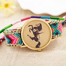 2016 New Brand Handmade Braided Horse Friendship Bracelet Watch GENEVA Watches Women Quarzt Watches relogio feminino