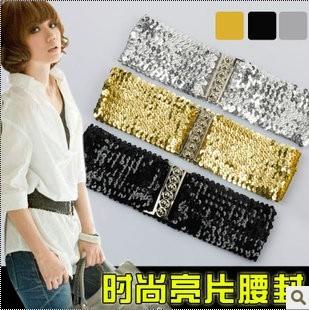 Supernova Sales hip hop Girl shining paillette elastic waist wide belt male women stage costume jewelry belt(China (Mainland))