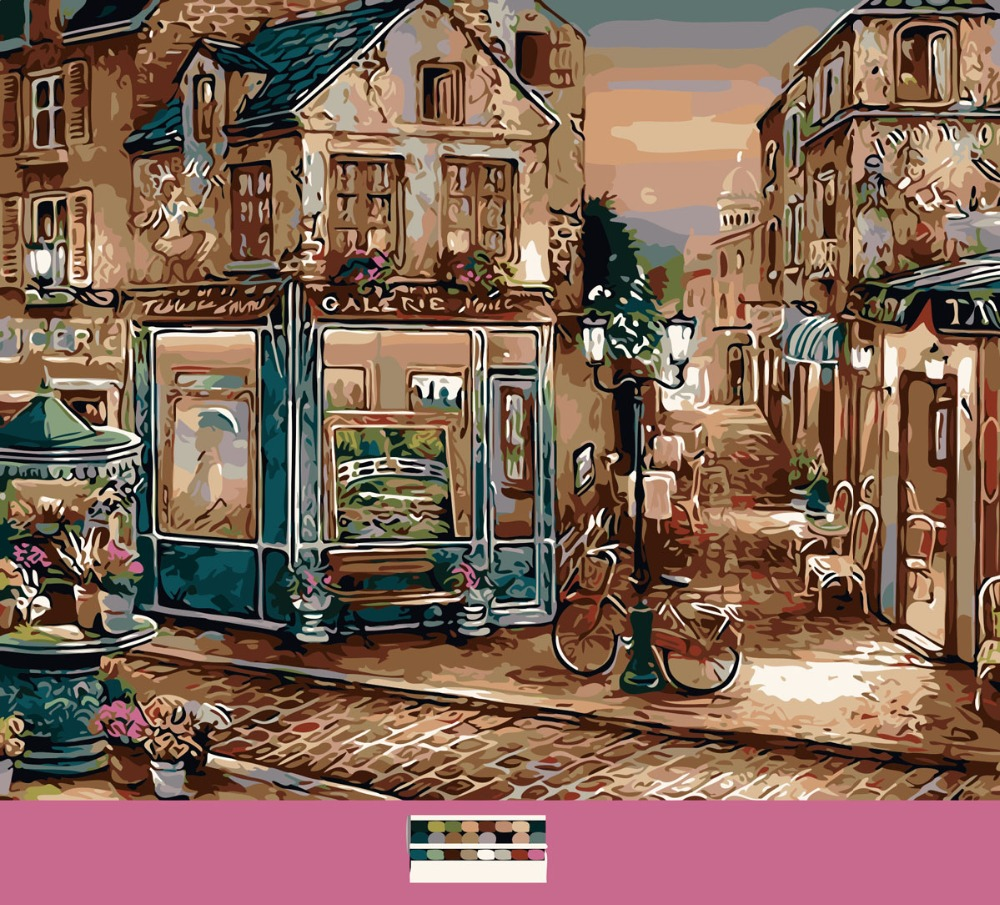 Frameless The corner of the gallery DIY Oil Painting By Numbers Digital by Number Painting On Canvas Home Wall Decor 40x50(China (Mainland))