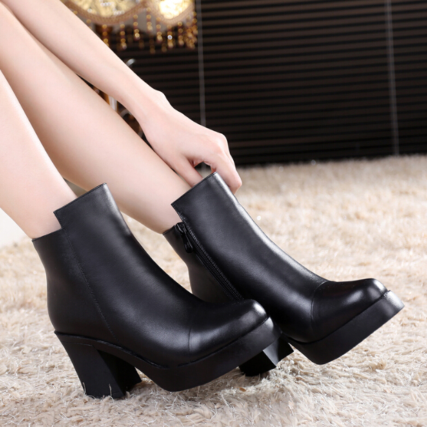 Size 33-41 women genuine leather pumps thick high-heeled boots winter shoes woman motorcycle boots small size shoes woman causal