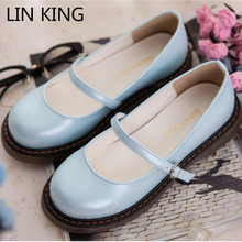 Buy LIN KING New Arrival Women Casual Shoes Round Toe Thick Sole Buckle Strap Ankle Shoes Kawaii PU Solid Low Top Spring Lady Shoes for $30.34 in AliExpress store