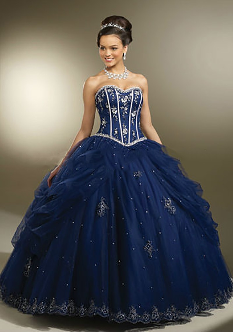 2016 royal blue ball gown tulle quinceanera dresses online for Floor length gowns