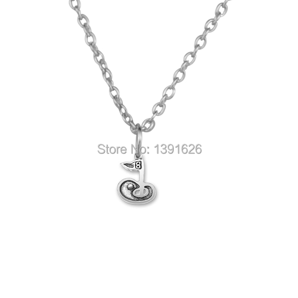 Three chain style golf charm vintage alloy antique silver men jewelry 18th golf hole charm pendant necklace choker necklaces(China (Mainland))