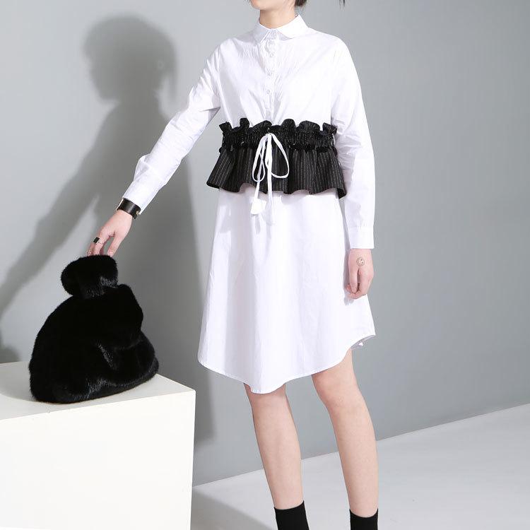 [soonyour] 2017 new spring lapel long sleeve stripe lotus leaf black white shirt dress women fashion tide all-match HAA3400M(China (Mainland))