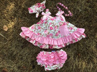 girls baby clothing  infant toddler kids children ruffled swing top bloomer sets swing dress back outfits infant girl clothes