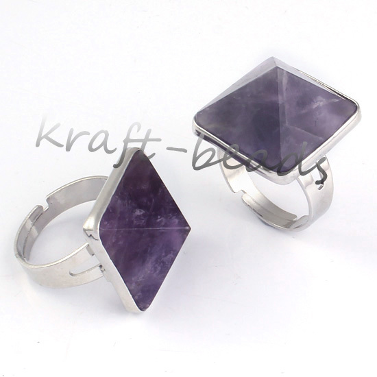 wholesale  10X Silver Plated beautiful amethyst  precious stone Beads Adjustable Stone Finger Ring Jewelry<br><br>Aliexpress