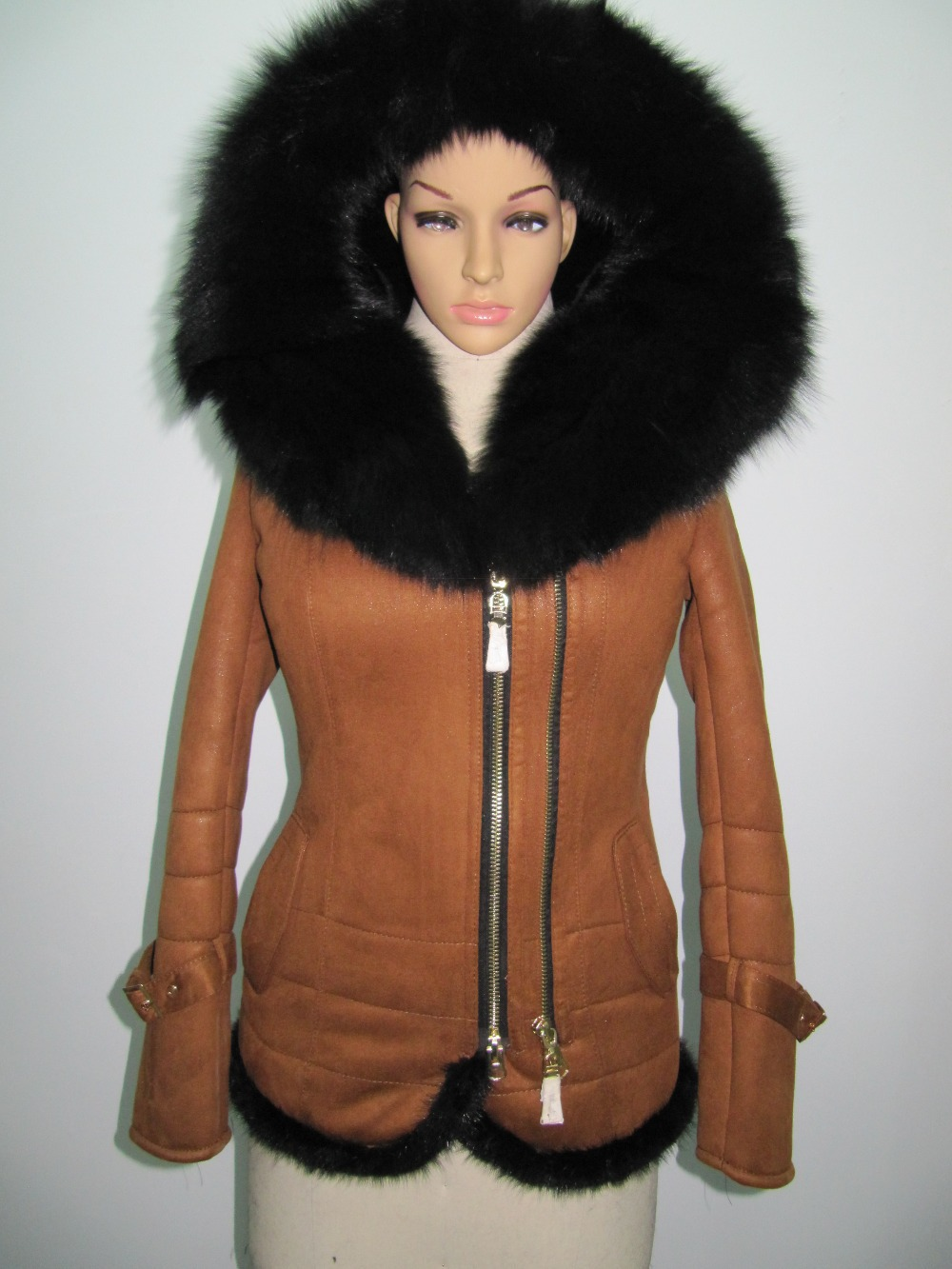 Factory direct supplier winter 2015 new women's fashion Slim suede coat female models thicker fur collar fox Hooded Jacket S-7XL(China (Mainland))