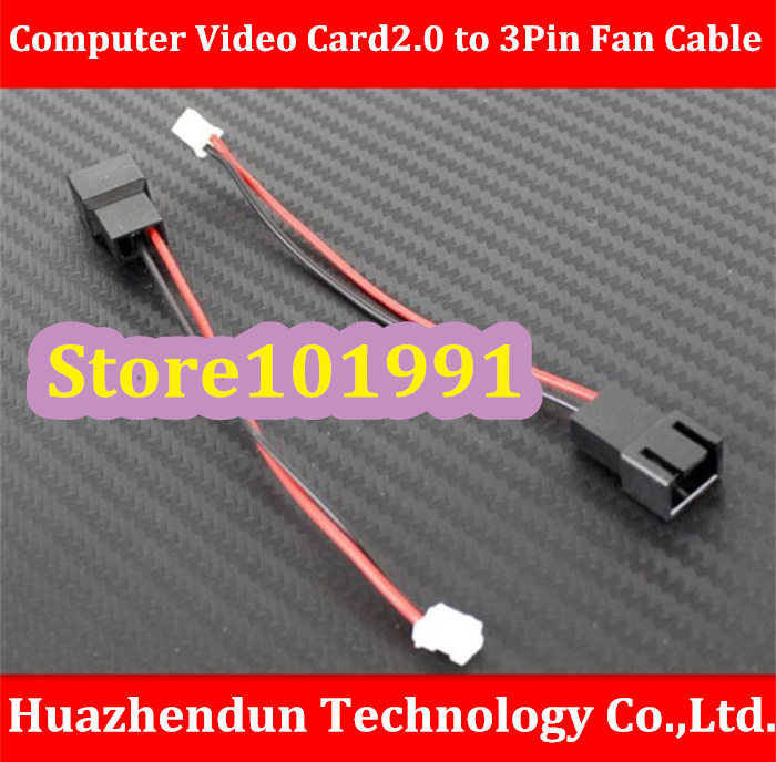 Free Shipping Computer Video Card 2.0 to 3Pin Fan Cable Length About 10CM Mini 2Pin to 3Pin Fan Cable(China (Mainland))