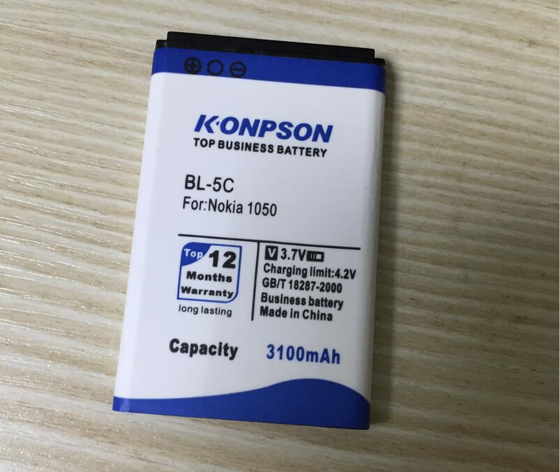 New 3100mAh High Capcity BL-5C Battery For Nokia 1100 6600 6230 C2-06 X2-01 Business Replacement BL 5C battery Free Shipping(China (Mainland))