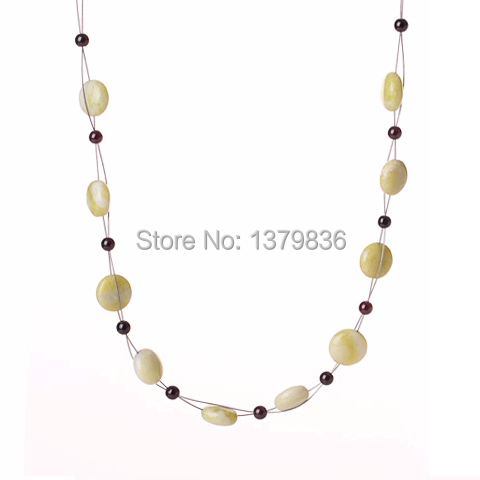 Fashion Garnet And Rhombus Lemon Stone Crochet Wired Necklace With Lobster Clasp(China (Mainland))