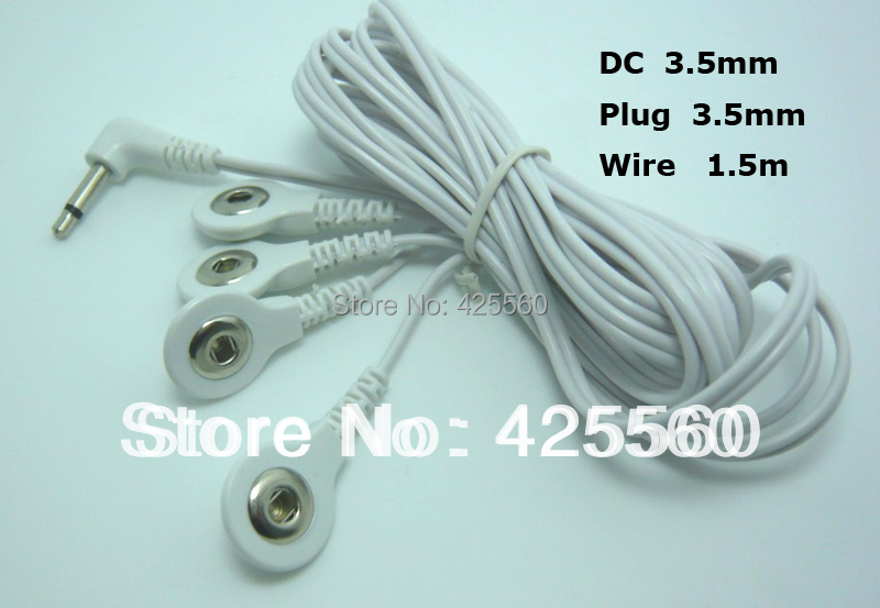 30 Pieces Jack DC Head 3.5mm Replacement Electrode Lead Wires Snap 3.5mm Connector Cables Connect Physiotherapy Machine(China (Mainland))