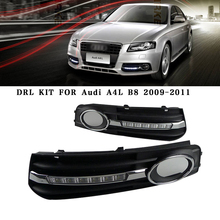 Car DRL kit Audi A4L B8 2009-2012 LED Daytime Running Light bar Super Bright fog auto lamp bulb Daylight car led drl 12V - DZYLLZ Automotive Accessories Store store