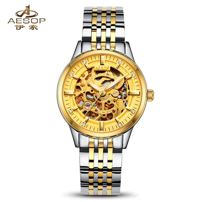 AESOP 9005 Switzerland watches men luxury brand Authentic automatic mechanical watch hollow steel gold relogio feminino<br><br>Aliexpress