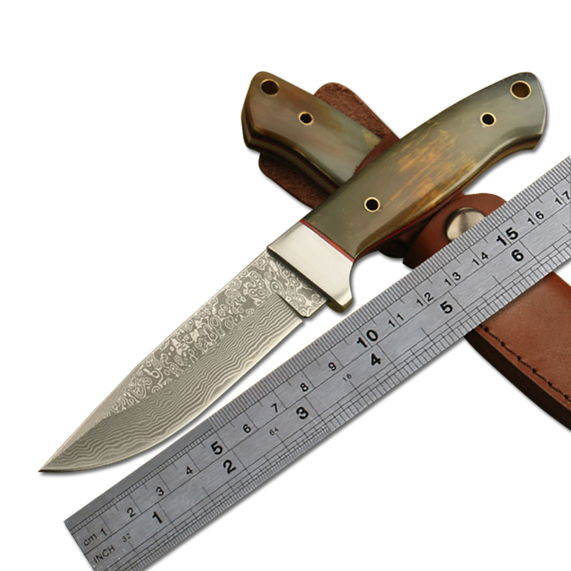 Damascus Fixed Blade Knife With Horn Handle Tactical Survival Knife Straight Knives Tool Handmade Camping Hunting Knife<br><br>Aliexpress