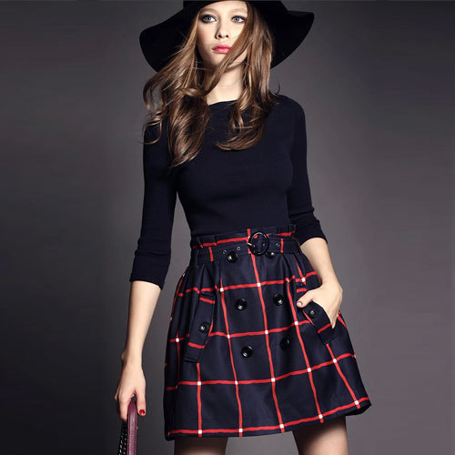 Autumn Winter Fashion Style New Women Clothing Cotton Three Quarter Sleeve Pullover Dress Slash Neck Patchwork Casual Coat HZ558Одежда и ак�е��уары<br><br><br>Aliexpress