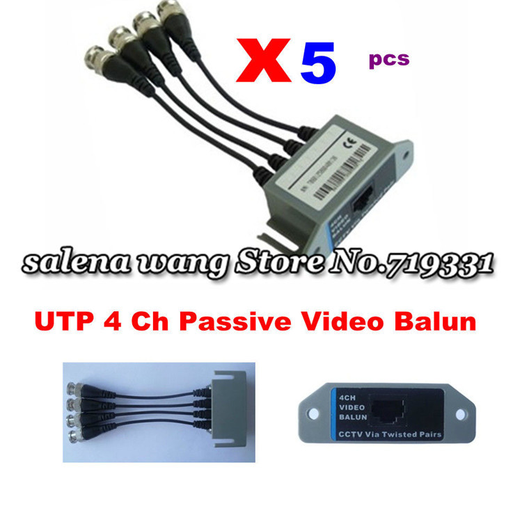 Гаджет  UTP 4 Channel CCTV BNC Video Balun Passive To UTP RJ45 None Безопасность и защита