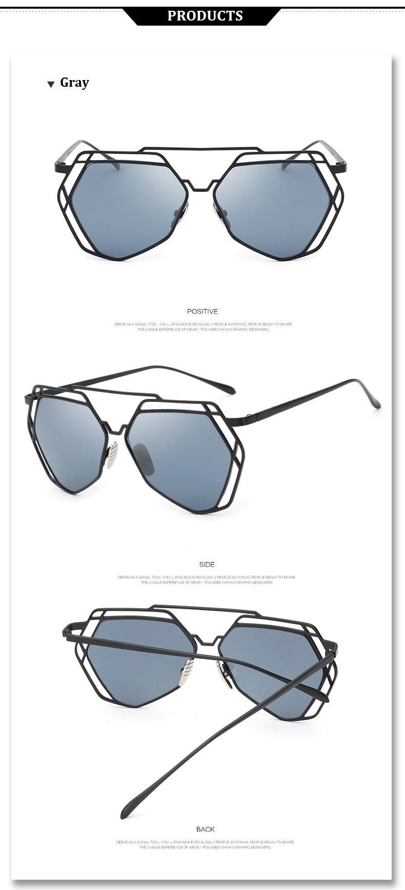 Brand Designer 2016 New Big Mirror Sunglasses Women Hexagon Lovers Hippie Ladies Sunglasses UV400 Pilot Rose Gold Sun Glasses