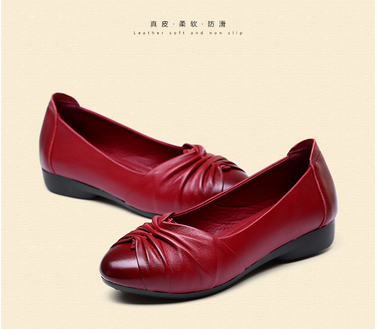 Candy Color Soft Bottom Flat With Round Leather Shoes Casual Non-Slip Mother Shoes Women Middle-Aged 2016 Summer Size 41 3 Color