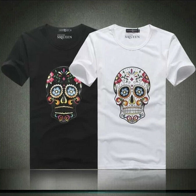2015 Brand Fashion Summer Men's T Shirts O-neck Short Sleeve Tshirt For Man Tops Tees Large Plus Size 3XL 4XL Skull Print 3598(China (Mainland))