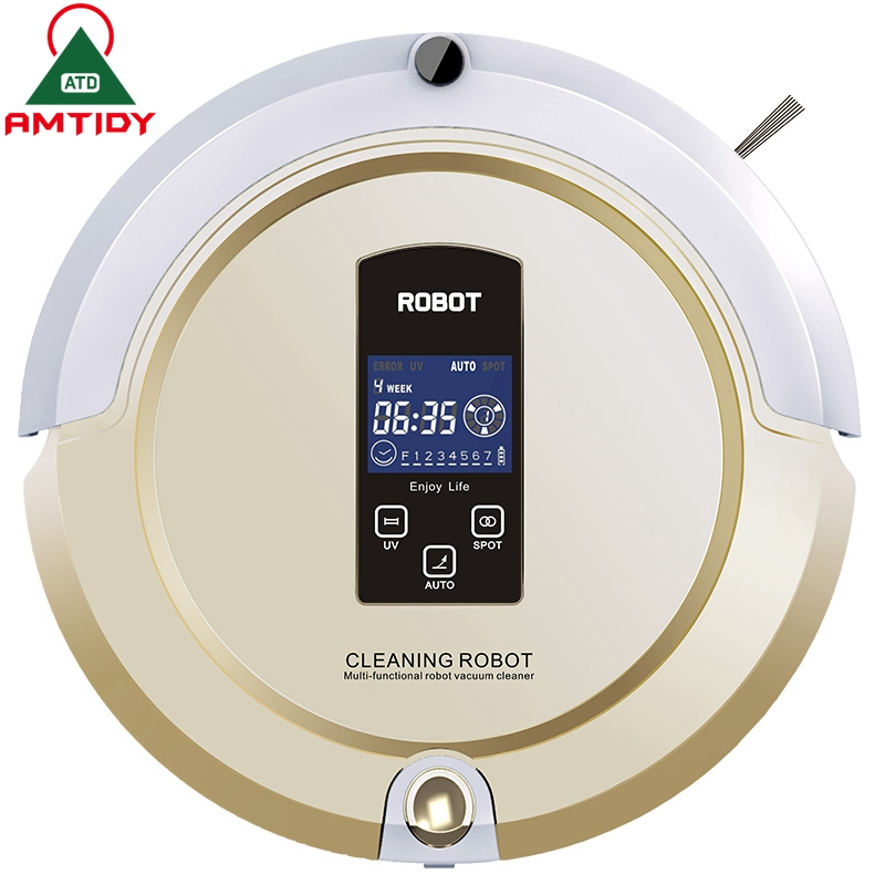 Amtidy Robot Vacuum Cleaner Self Charge Remote control LCD Screen Side Brush UV Sterilization 2200mAh Battery Home Appliance(China (Mainland))