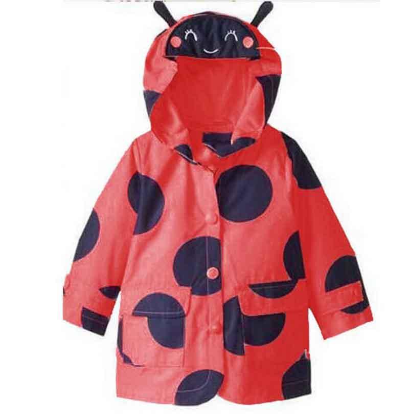 Long Sleeve Children Polka Dot Waterproof Hoodies Rain Coat 2016 Kids Cartoon Jacket Slicker For Girls Autumn Sport Outfit(China (Mainland))