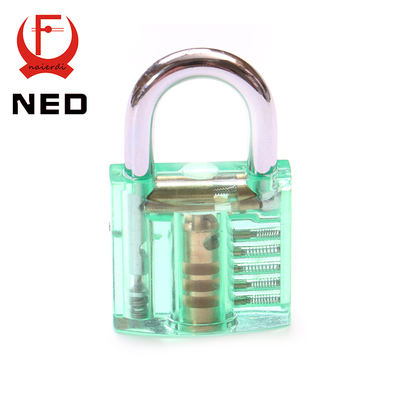 NED Green Transparent Design Modern Style Visible Pick Cutaway Mini Practice View Padlock Lock Training Skill For Locksmith(China (Mainland))