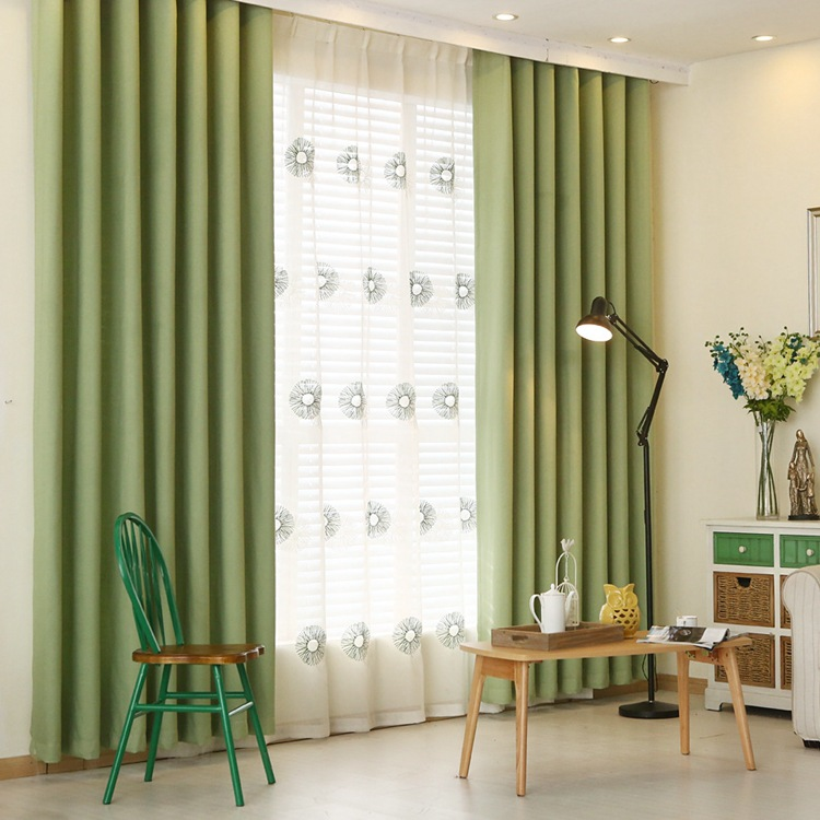 Simple Modern Solid Blackout Curtains Screens For Living Room Fulle Shade Pan