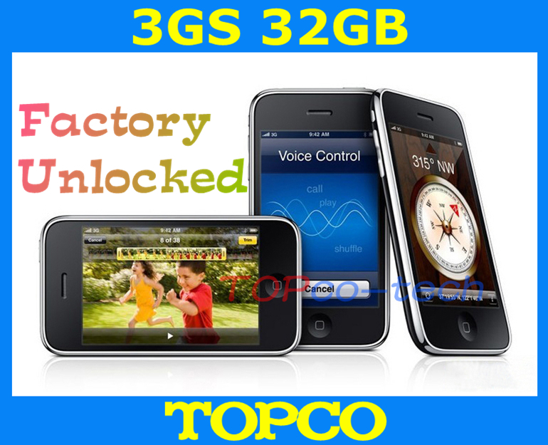 Factory Unlocked Original iPhone 3GS 32GB mobile phone WIFI GPS 3.2MP Black&White in sealed box dropshipping(China (Mainland))