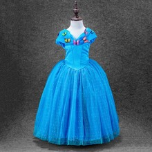 2016 new summer style cinderella child girls dress blue butterfly princesses dresses children's clothing fancy costumes