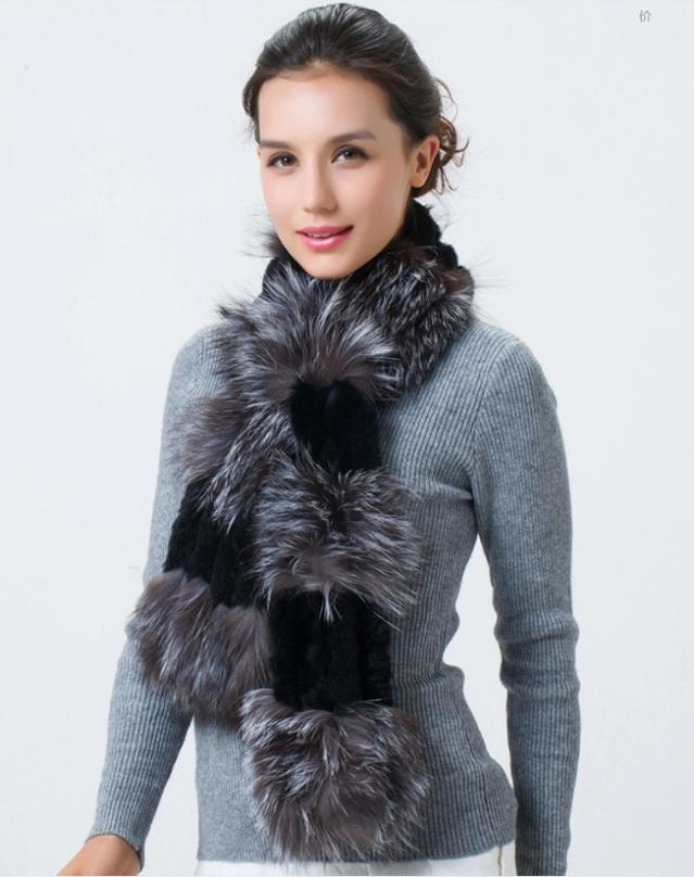 Hot Sales Real Fur Scarves For Women Handmade Natural Rex Rabbit Fur Scarf With Sliver Fox Fur Wraps YSC040