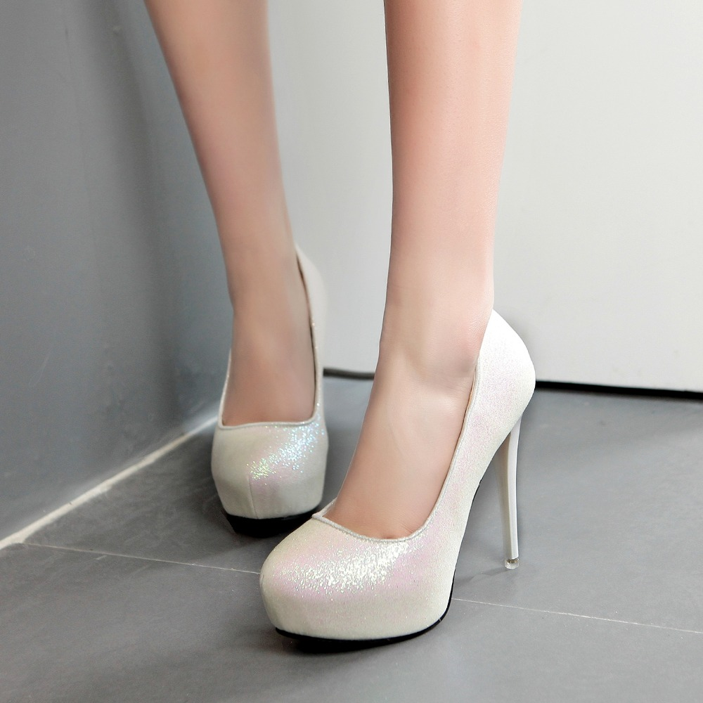 2017 New Sexy Bling Giltter Platform 12CM Ultra High Heels Woman Shoes Nightclub Sexy Pumps Party Dress Shoes White Gold 568-12