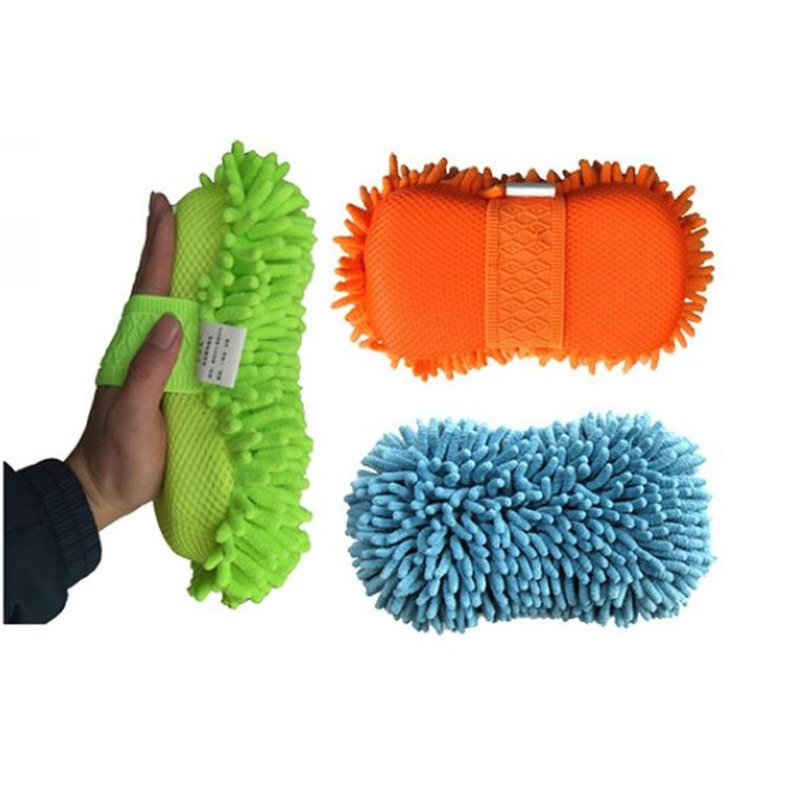 High Quality Chenille Fibers Coral Car Cleaning Sponge Auto Wash Mitt Chenille Car Washing Sponge with Handle Car Cleaning Form(China (Mainland))