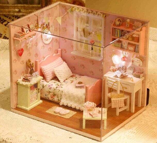 product Diy Wooden1:12 Miniature Doll House Furniture Toy Miniatura Puzzle Model Handmade Dollhouse Creative Birthday Gift-Sunshine full