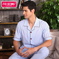 Summer 2016 short sleeve men pajama sets 100 cotton Polka Dots style pyjamas male lounge sleepwear