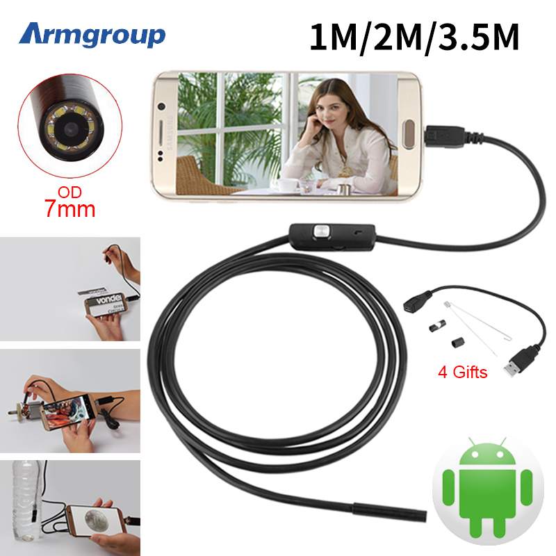 7mm Lens 1M 2M 3.5M USB Android Camera Inspection Endoscope Camera IP67 OTG USB Endoskope Camera Mini Borescope Endoscopio(China (Mainland))