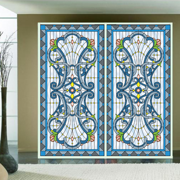 Stained glass art film retro ceiling glass church window European color custom closet door stickers(China (Mainland))