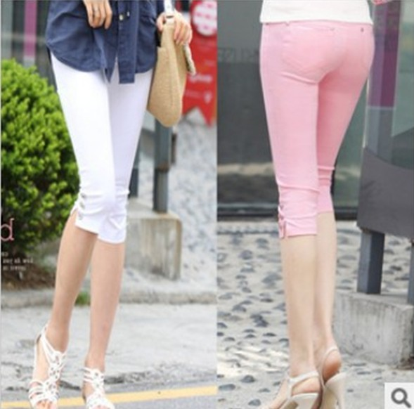 new women summer casual candy color skinny slim pencil pants trousers capris plus size S/M/L/XL/XXL/XXXL KZ9012  -  Beautiful sexy women's clothing store store