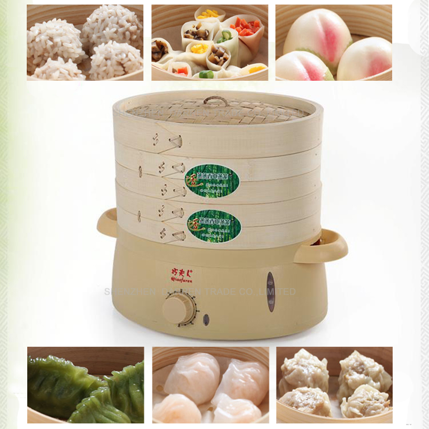 Free DHL 5pc high quality 6L mini green safe multilayer Bamboo products food steamer bamboo steamer electric steamer 220V 800W(China (Mainland))