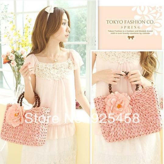 Free shipping Flower straw bag fashion woven handbag women totes beach bags<br><br>Aliexpress