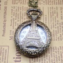 Buy Cindiry Free Antique bronze hollow Eiffel Tower Paris pocket watch pendant necklace men women watch gift P19 for $2.69 in AliExpress store