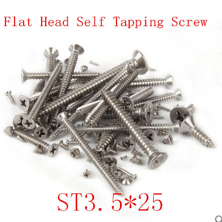100pcs/lot DIN7982 ST3.5*25  M3.5 X 25 Stainless Steel A2 Flat Head  Phillips Cross Recessed Countersunk Self Tapping Screw<br><br>Aliexpress