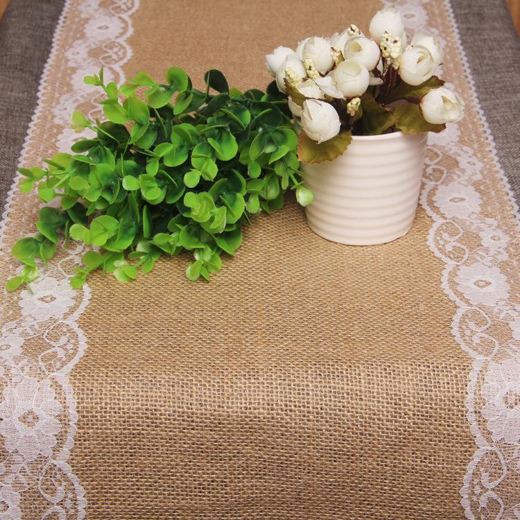 Rustic jute lace wedding accessories table runner party - Decoration de table vintage ...
