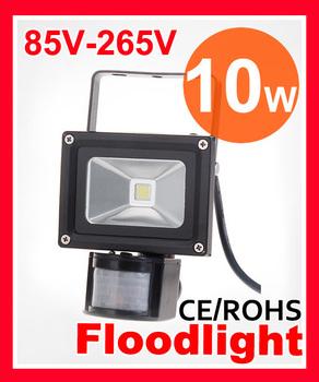 Free shipping 10W LED Floodlight 85-265V IP65 Waterproof PIR Motion Sensor Induction Sense Detective Sensor lamp LED Flood Light